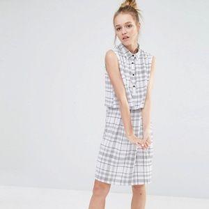 ASOS Monki Grid Print Shirt Dress - Size XS